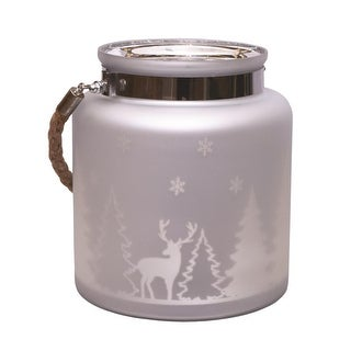 "8"" Matte Silver Winter Scene Decorative Christmas Pillar Candle Holder Lantern with Handle"