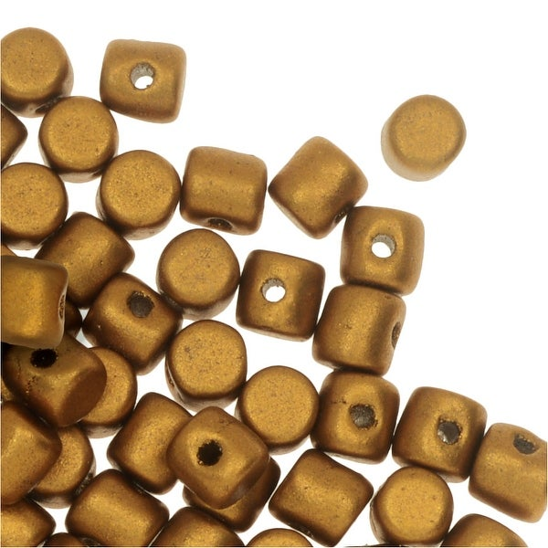 Czech Glass Minos par Puca, Cylindrical Beads 2.5x3mm, 120 Pieces, Matte Bronze Gold