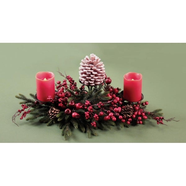 "23"" Pine and Berry Rustic Christmas Pillar Candle Holder Centerpiece - green"