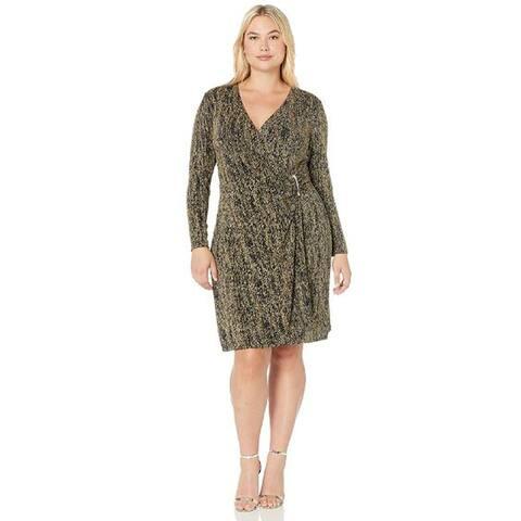 Calvin Klein Women's Mock-Wrap Dress, Black/Gold with Buckley, 14W