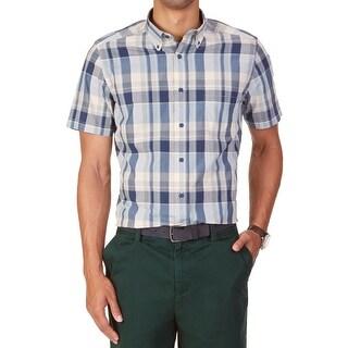 Nautica NEW Blue Mens Size Small S Wayne Plaid Print Button Down Shirt