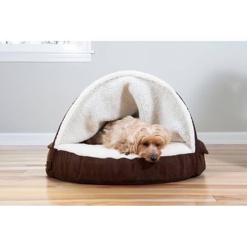 FurHaven Pet Bed Faux Sheepskin Snuggery Memory Top Burrow Dog Bed