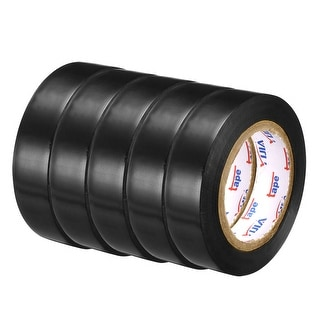 """PVC Electrical Insulating Tape Single Sided 21/32"""" Width 49ft 20mil Black 5pcs - 20 mil Thick, Black"""