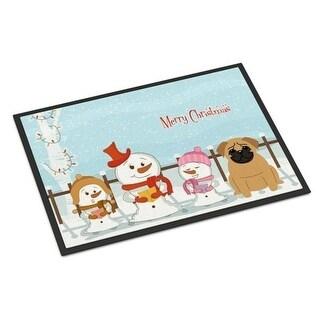 Carolines Treasures BB2338MAT Merry Christmas Carolers Pug Brown Indoor or Outdoor Mat 18 x 0.25 x 27 in.