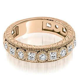 1.50 cttw. 14K Rose Gold Antique Round And Princess Bezel Diamond Ring