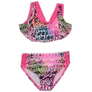 Penelope Mack Baby Girls Fuchsia Mixed Geometric Print 2 Pc Swimsuit