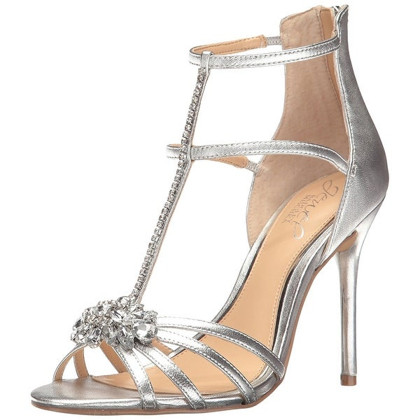 BADGLEY MISCHKA Womens Hazel Open Toe Special Occasion T-Strap, Gold, Size 7.5