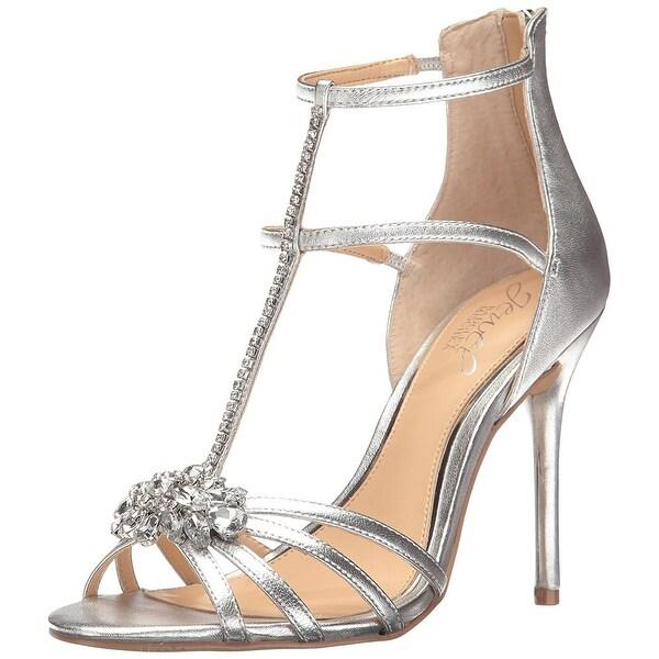 BADGLEY MISCHKA Womens Hazel Open Toe Special Occasion T-Strap, Silver, Size 8.5