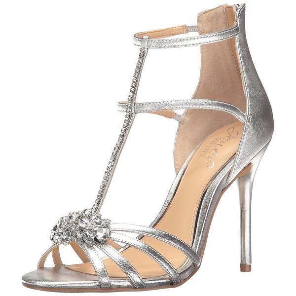 BADGLEY MISCHKA Womens Hazel Open Toe Special Occasion T-Strap, Silver, Size 9.0