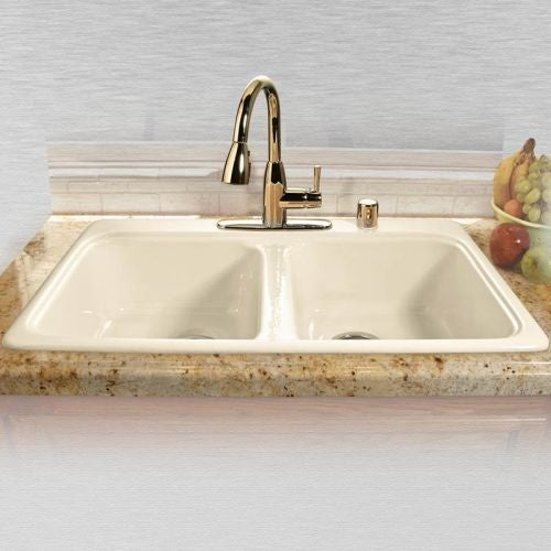 "Miseno MCI45-4TM 33"" Double Basin Drop In Cast Iron Kitchen Sink"