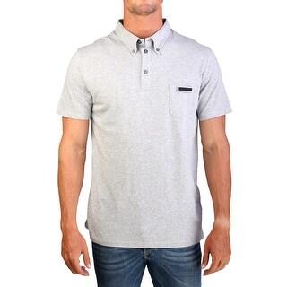 Prada Men's Cotton Short Sleeve Pocket Polo Shirt Grey - M