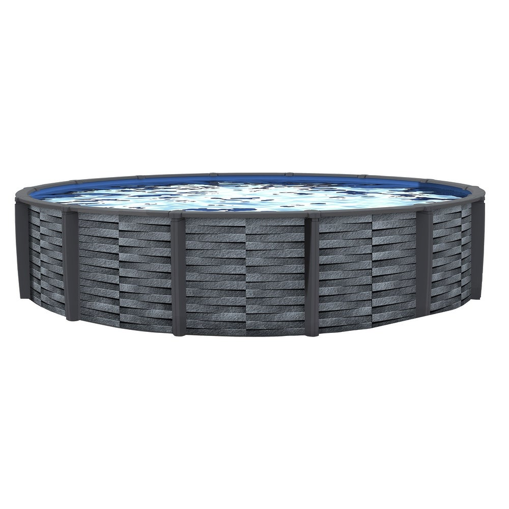Blue Wave Affinity 18-ft Round 7-inch Top Rail Resin Swimming Pool Package