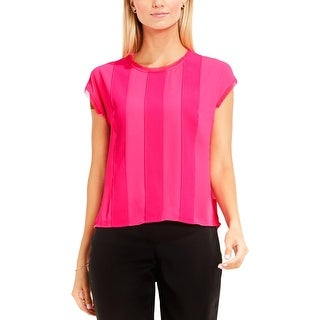 Vince Camuto Womens Blouse Fringed Trim Pleated