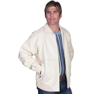 Scully Western Jacket Mens Lambskin Zip Knit Cuff Cream 243-64