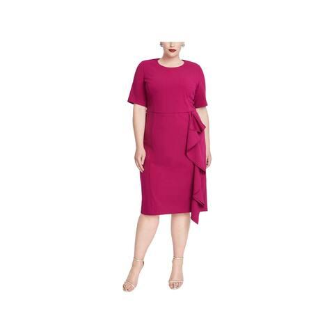 Rachel Roy Womens Plus Cocktail Dress Ruffled Short Sleeves