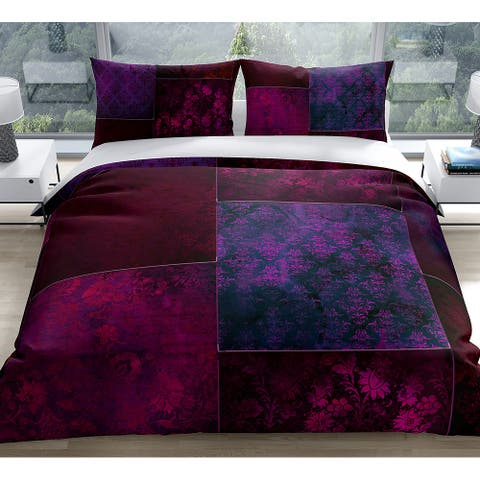 ECLECTIC BOHEMIAN PATCHWORK WINE and PURPLE Duvet Cover by Kavka Designs