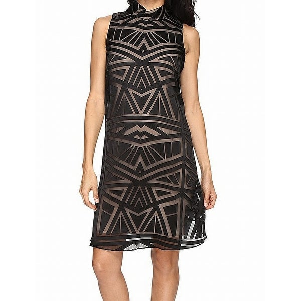 105d31f351843 Shop Vince Camuto Black Womens Size 4 Burnout Woven Trapeze Sheath Dress -  Free Shipping On Orders Over  45 - Overstock - 21693514