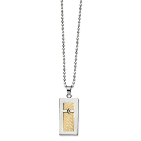 Chisel Stainless Steel with 18K Yellow Gold Accent 0.025 Cttw Diamond Rectangular 24-inch Necklace