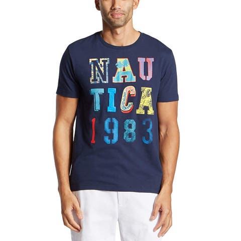 Nautica Mens Short Sleeve Crew Neck Logo 1983 100% Cotton T-Shirt, Adult