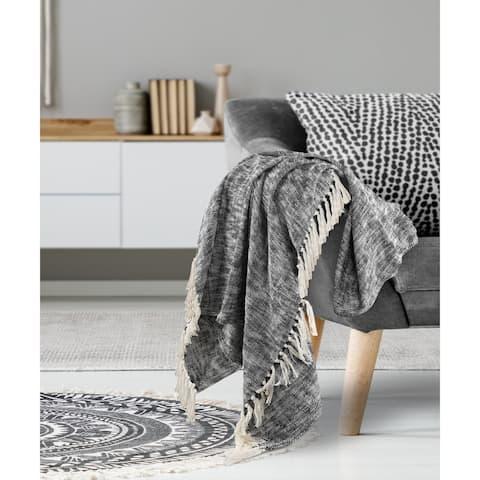 Black Boho Chambray Throw Blanket with Fringe