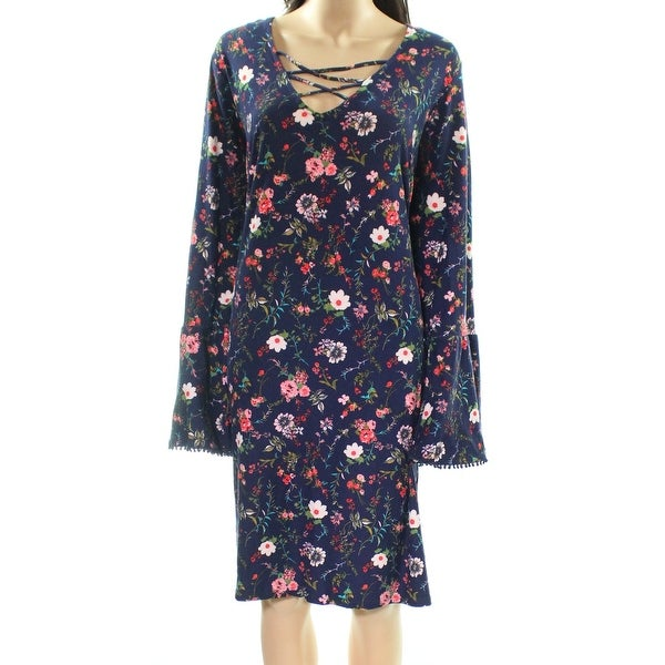 f6877abce32 Shop Planet Gold Blue Women Size 3X Plus Lace Up Floral Print Shift Dress -  Free Shipping On Orders Over  45 - Overstock.com - 27198895