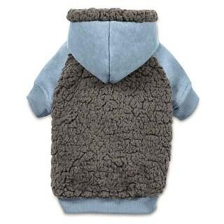 Casual Canine Cozy Fleece Dog Hoodie - Blue - Large