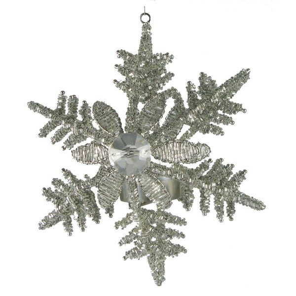 Set of 2 Snowflakes with Flower Large Tealight Hanging Christmas Ornaments 6.5""