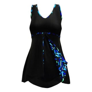 Peek-a-Boo Front Flirty Swimdress in Solid Black w/Blue Graphic Accent