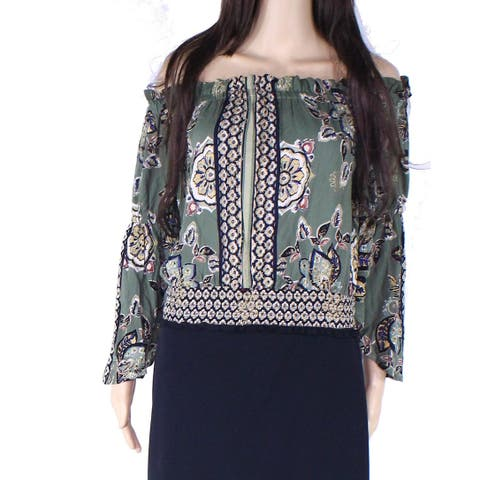 Angie Womens Top Green Size Large L Cropped Smocked Printed Shimmer