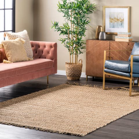 nuLOOM Neha Seagrass and Straw Flatweave Fringe Area Rug