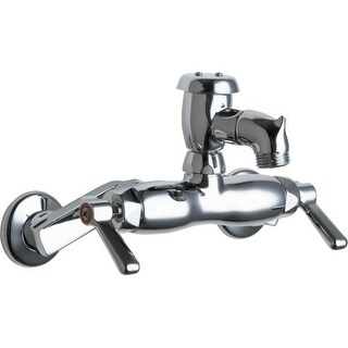 Chicago Faucets 305-VB Wall Mounted Service Sink Faucet with Atmospheric Vacuum Breaker Rigid Spout with Pail Hook and Metal