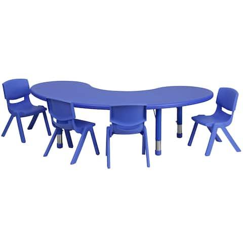 "35""W x 65""L Half-Moon Plastic Adjustable Activity Table Set - 4 Chairs"