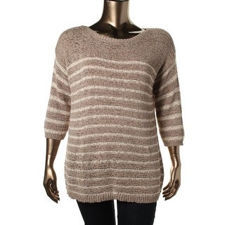 Jones New York Womens Plus Striped 3/4 Sleeves Pullover Sweater