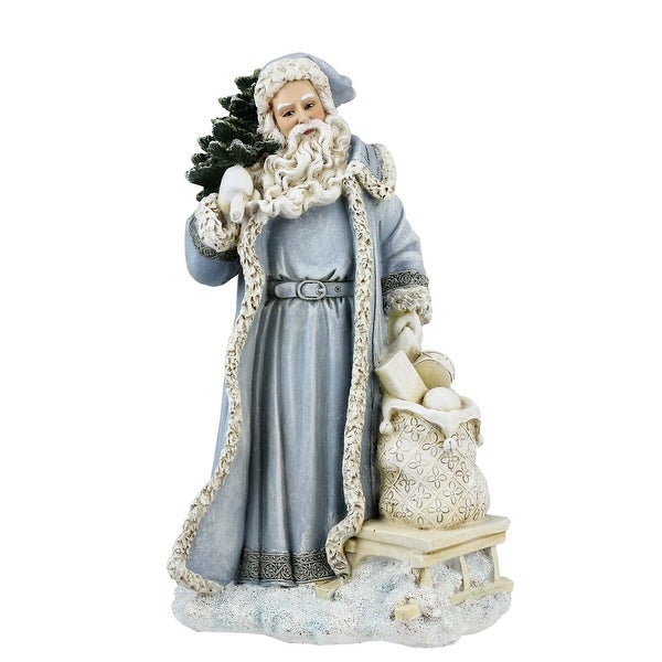 "9"" Old World Santa in Blue Coat with Tree and Bag of Gifts Christmas Decoration - brown"