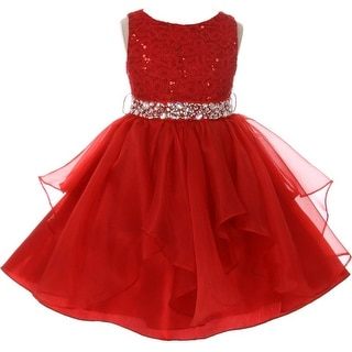 Flower Girl Dress Sequin Lace Top Ruffle Skirt Red MBK 357