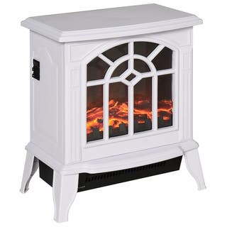 "HOMCOM 16"" 1500W Freestanding Indoor Electric Fireplace Heater - White"