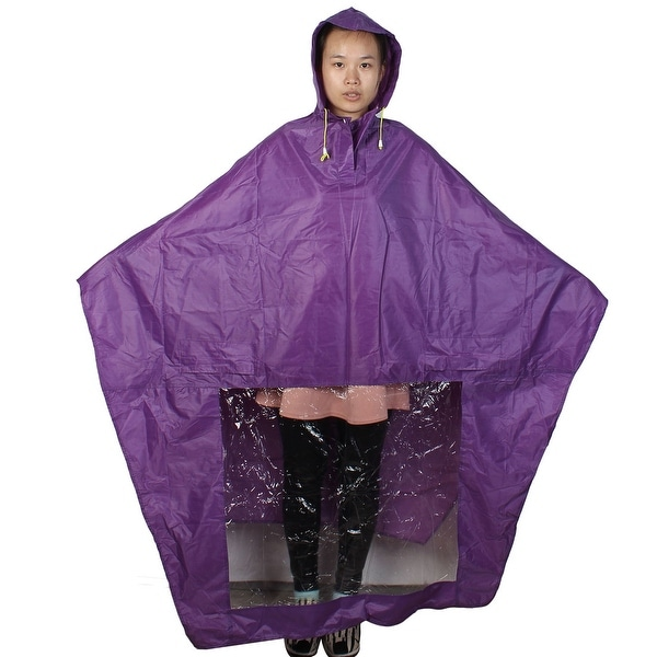 Purple Drawstring Closure Hooded Water Resistant Raincoat for Adults