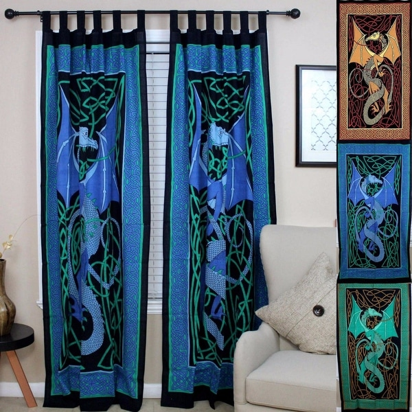 Handmade Celtic Dragon Curtain 100% Cotton Drape Panel 44 x 88 inches in Green Red Brown Blue - 44 x 88 inches