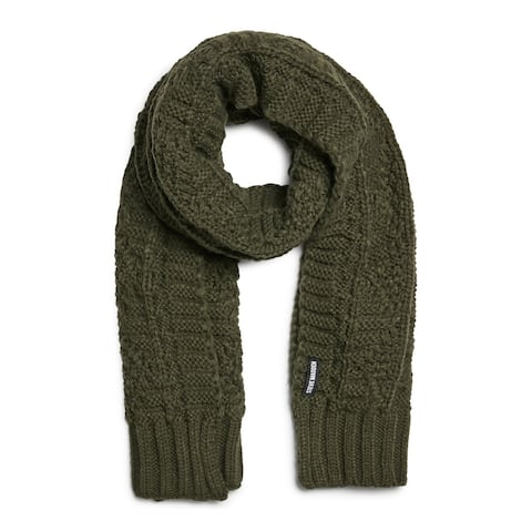 STEVE MADDEN Green Acrylic Cable Knit Winter Scarf - ONE SIZE