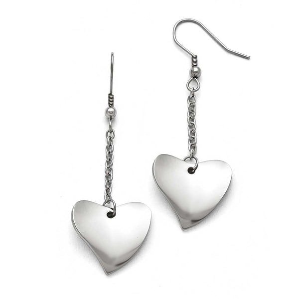 Chisel Stainless Steel Polished Heart Earrings
