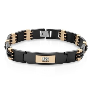 """CZ Center Black IP Two-Tone Stainless Steel ID Bracelet - 8.5"""" (Sold Ind.)"""