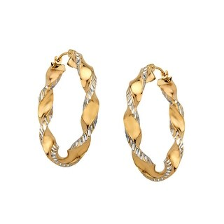 Twist Hoop Earrings in Sterling Silver & 10K Gold - Two-tone