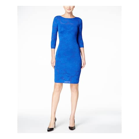 CALVIN KLEIN Blue 3/4 Sleeve Knee Length Body Con Dress Size L