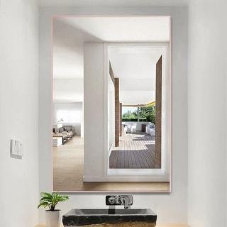 Link to Porch & Den Lovegren Rectangular Glass Bathroom Mirror with Thin Aluminum Alloy Frame Similar Items in Mirrors