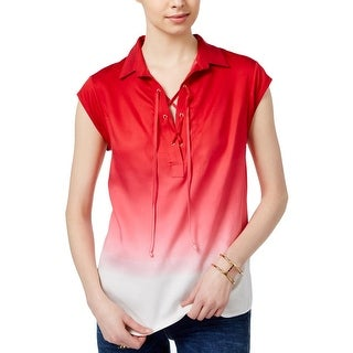 Tommy Hilfiger Womens Casual Top Ombre Lace-Up