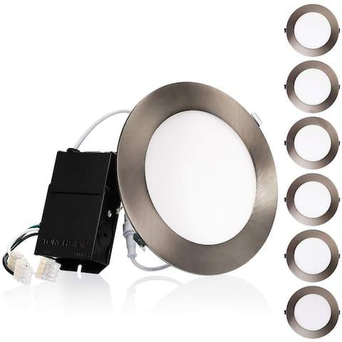 "Luxxr 6"" Slim Panel Wafer Downlight with J-box, Satin Nickel, 3000K Warm White - 6 Pack"