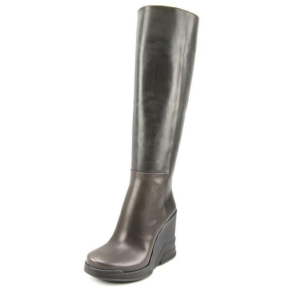 Prada 1WZ005 Women Round Toe Leather Gray Knee High Boot