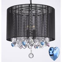 Crystal Chandelier  With Black Shade and Blue Crystal Hearts