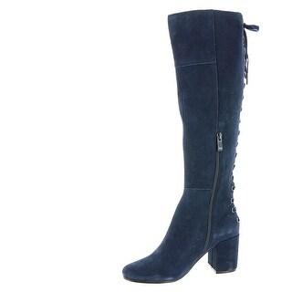 Very Volatile Womens wynter Fabric Almond Toe Knee High, NAVY , Size 10.0 - 10