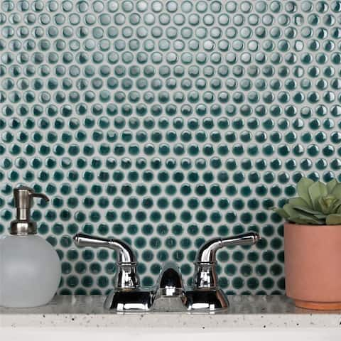 SomerTile Penny Emerald Porcelain Mosaic Floor and Wall Tile (10 tiles/10.74 sqft.)